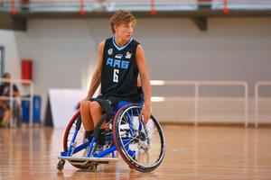 wheelchair on basketball court