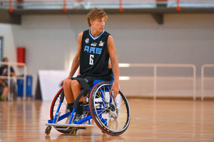 wheelchair on basketball court